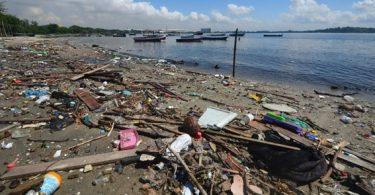 Lixo acumulado nas margens da Baía de Guanabara (RJ). (fonte: Marcelo Fonseca/Estadão Conteúdo)